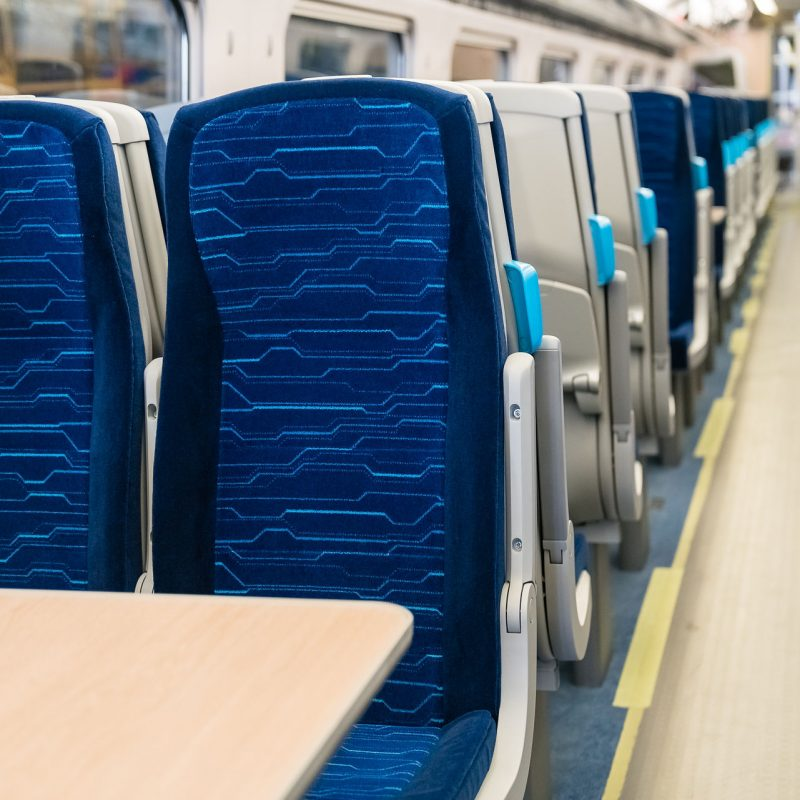 The standard class seats inside the first new train