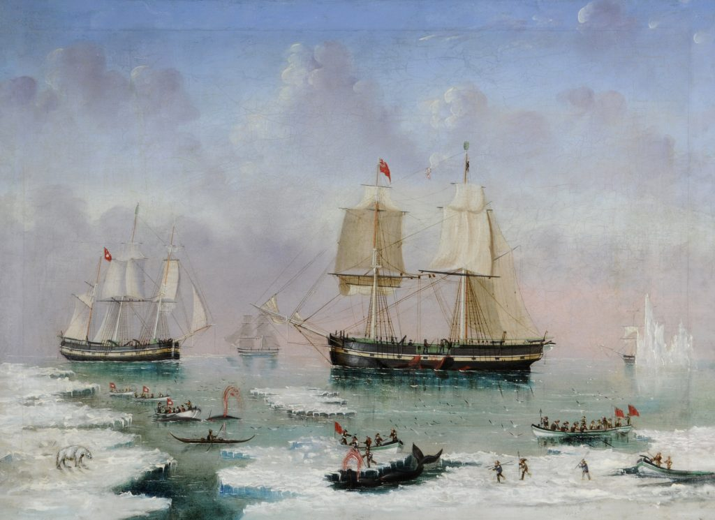 Whalers in the Arctic by James Wheldon - Hull Maritime Museum.