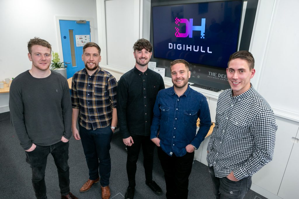 Pictured at the first DigiHull event held at The Deep Business Centre are (from left) Ali O'Sullivan of Diony, Ash Williams of 43 Clicks North, Nick Tyldsley of Superfly, Jacob Blakey of Blink and Mike Ellis of 43 Clicks North.