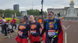 Jane, Michelle, and Duncan at the London Marathon.