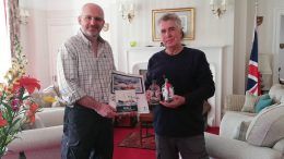 Dr Robb Robinson (right) presenting the gifts to Nigel Phillips CBE, Her Majesty's Commissioner for South Georgia and the South Sandwich Islands and Governor of the Falkland Islands.