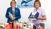 Pictured with some of the items collected at The Deep Business Centre is receptionist Sue Waterhouse (right) and Freya Cross, Head of Business and Corporate at The Deep.