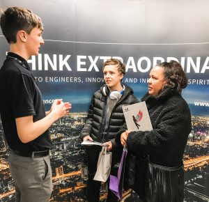Kingsley Abel, 13, who hopes to join Year 10 in September, and his mum, Tiffani Taylor, find out about Ron Dearing UTC from former student George Mellonby, who is now a Commercial Apprentice with Spencer Group.