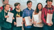 Students celebrate their A-level results at Ron Dearing UTC last summer.