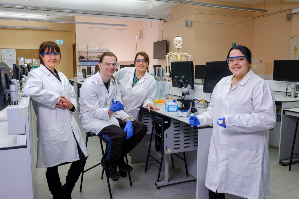 Former Ron Dearing UTC students Jacob Harrison and Joely Rhodes in the laboratories at the University of Hull, with UTC Principal Sarah Pashley, left, and Karen Arundel, the university's UTC Partnerships Manager.