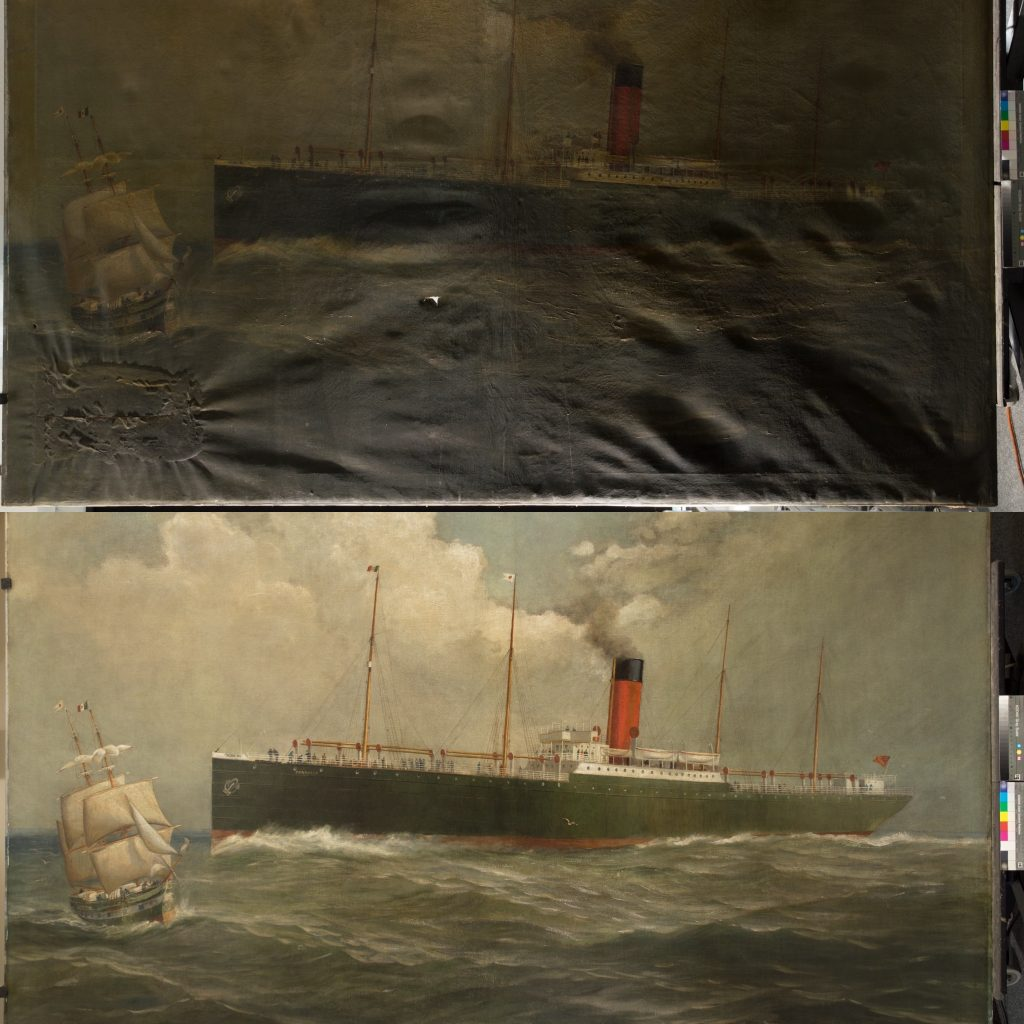 Included in the conservation is a large oil painting of the Wilson Line ship SS Consuelo.