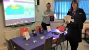 Steve Rusling of CASE and Amanda Smith of NatWest setting up one of the Safer Internet Day workshops.