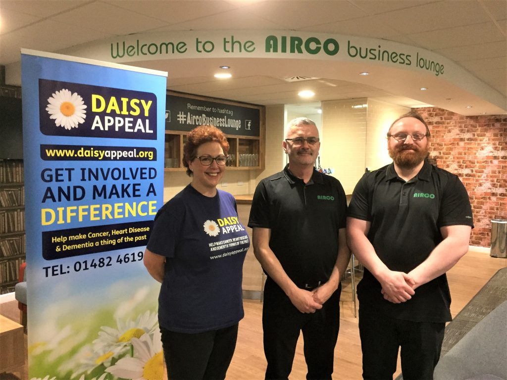Pictured in the Airco business lounge are (from left) Claire Levy, Fundraiser at the Daisy Appeal, Dean Cordon and Andy Stubbs.