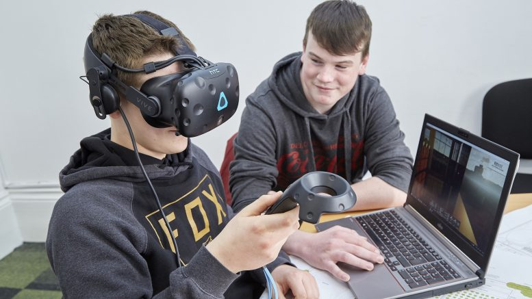 Students Sam Malone, 17 and Josh Lake, 16, will be using Autodesk Revit 3D building information modelling (BIM) software to create the walkthrough. Image by R&R Studio