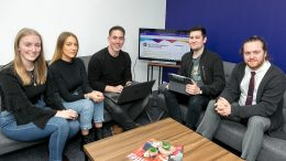 Mike Ellis (centre) of 43 Clicks North with (from left) Lauren Simpkins, Kelly Worsnop and Benjamin Atkinson of The Skills Network and Sami Hindmarsh of The Deep Business Centre.