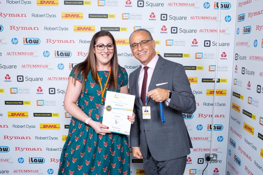 Jennifer Gilmour represented OuTFox at the winners event in Birmingham where she met Theo Paphitis and received OuTFox's certificate