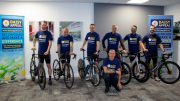 The Paris 2 Benitachell cycle challenge team. From left, Scott Ferry-Collins, Pete Middleton, Lee Watson, Neil Weatherald, Gary Parker, Nick Cross and Steve Hardaker (front).