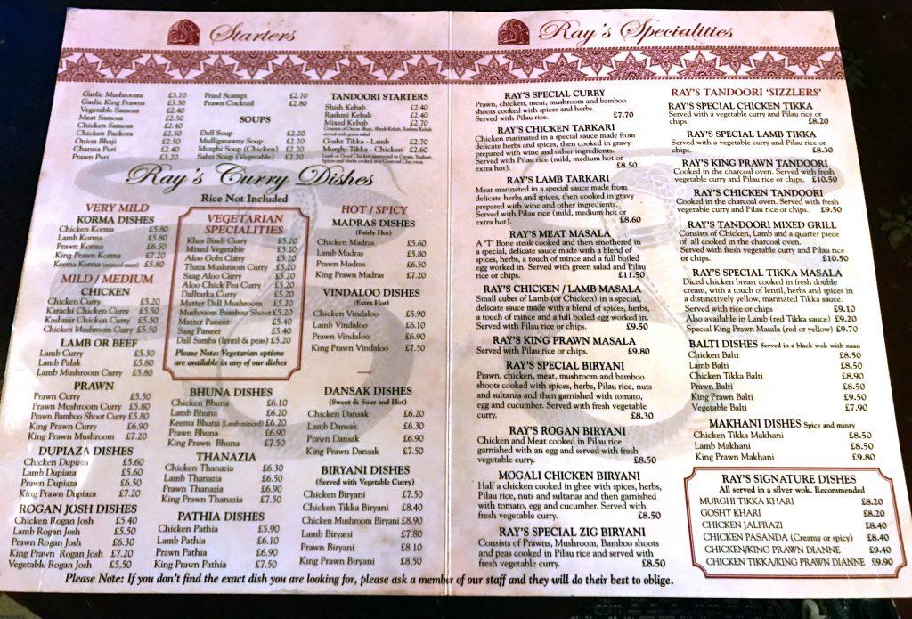 Ray's Place menu