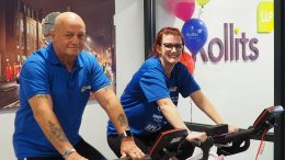 Bryan Birch from the DK Foundation with Holly Joyce of Rollits taking part in a fundraising bike-a-thon during the firm's first Wellbeing Week.
