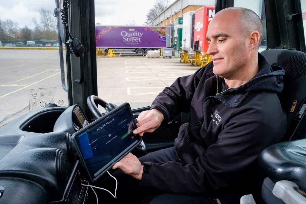 Nestlé Shunter Driver Matty Potts views live data via a tablet in his cab under a new system developed by Hull smart tech business Sauce. The system is used to improve the visibility and tracking of movements of drivers, vehicles and trailers.