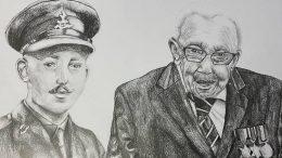 Portrait of Captain Tom Moore by Ellie Ralph.