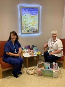 Nursing staff with a sanctuary box, Cardiology Department.