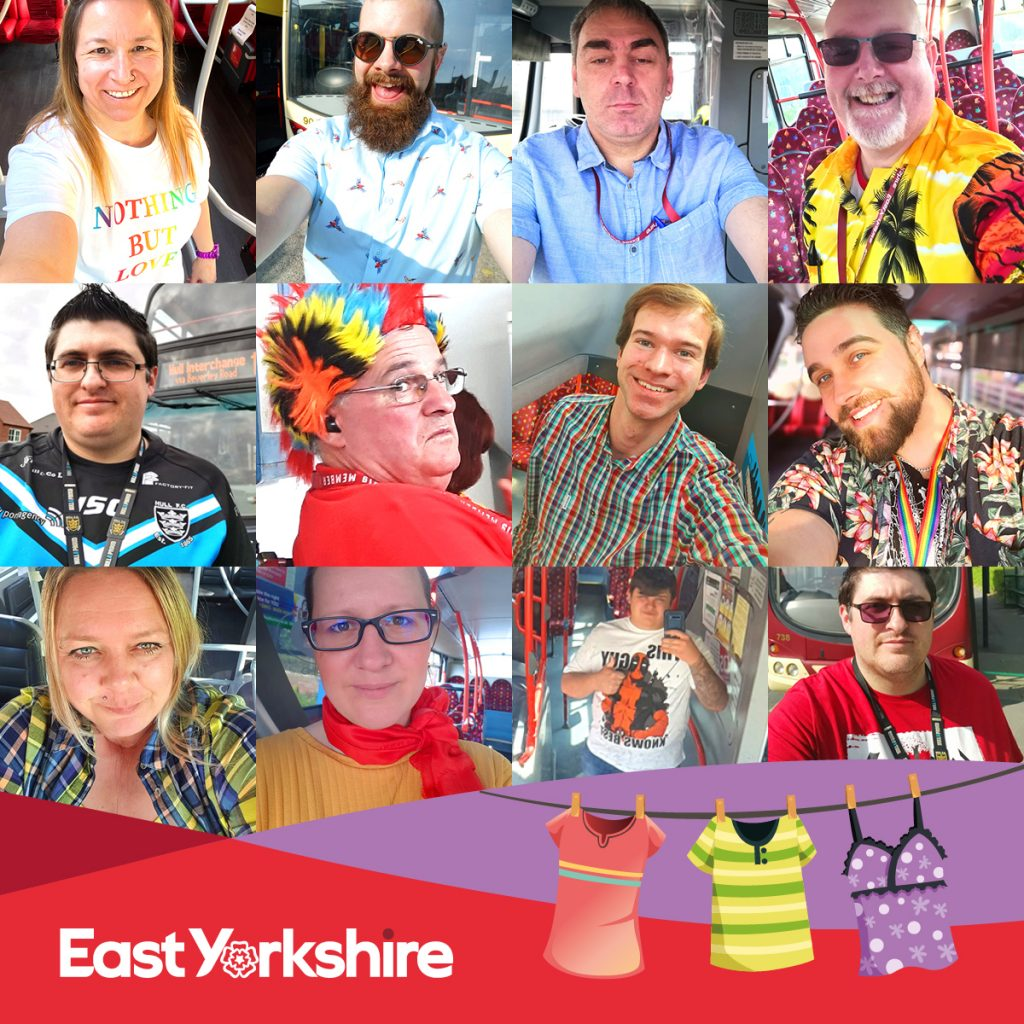Bus drivers from local bus company East Yorkshire will wear colourful clothes over the bank holiday weekend.