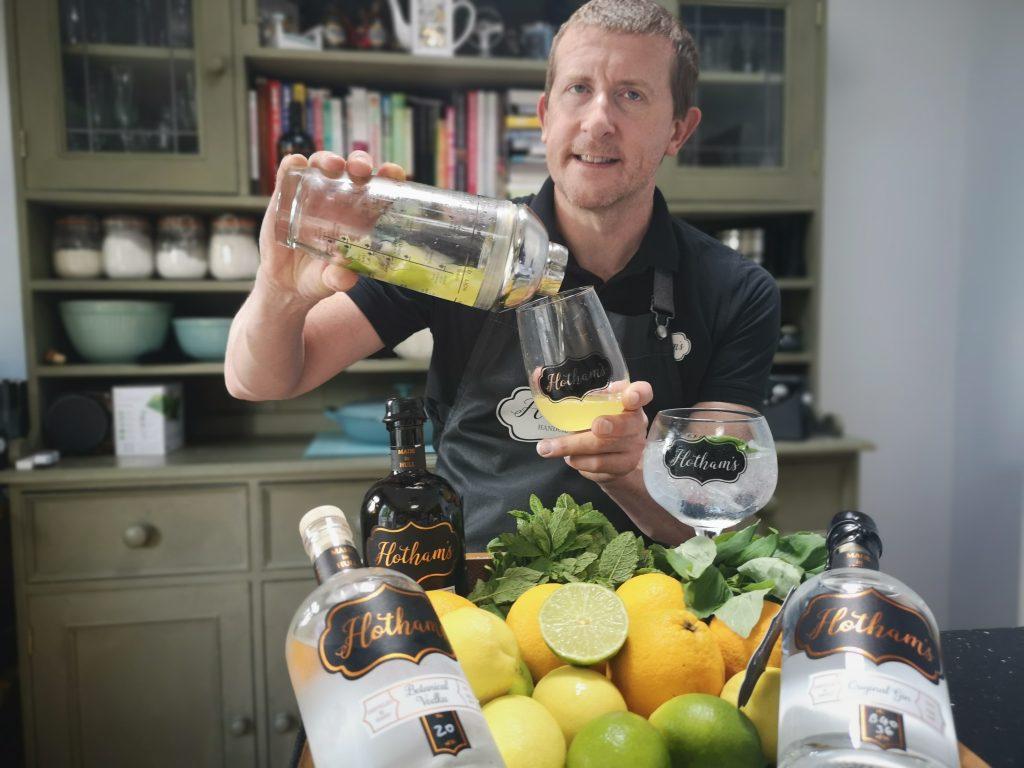 Simon Pownall testing cocktail recipes at Hotham's Distillery.