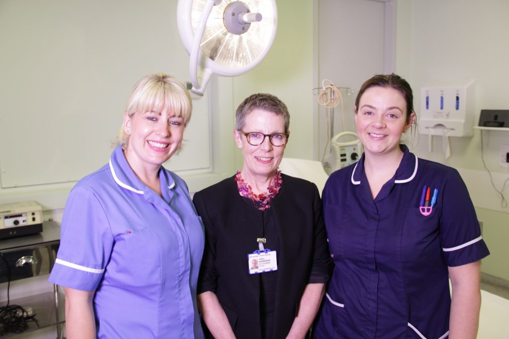 Aimee Fenn, staff nurse, Eileen Henderson, head of outpatient services, and Katie Kavanagh, junior sister. Both Aimee and Katie work in the plastics trauma outpatient clinic.