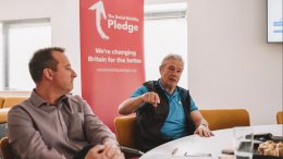 Paul and his son Patrick endorsing the Social Mobility Pledge in a meeting with former Secretary of State for Education Justine Greening.