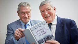 Paul Sewell presenting Alan Johnson with a mock-up book after the former Hull West and Hessle MP became Chair of the Public Private Partnerships Citycare and Shared Agenda Solutions.