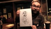 A 'drawn blind' portrait by artist Lydia Caprani