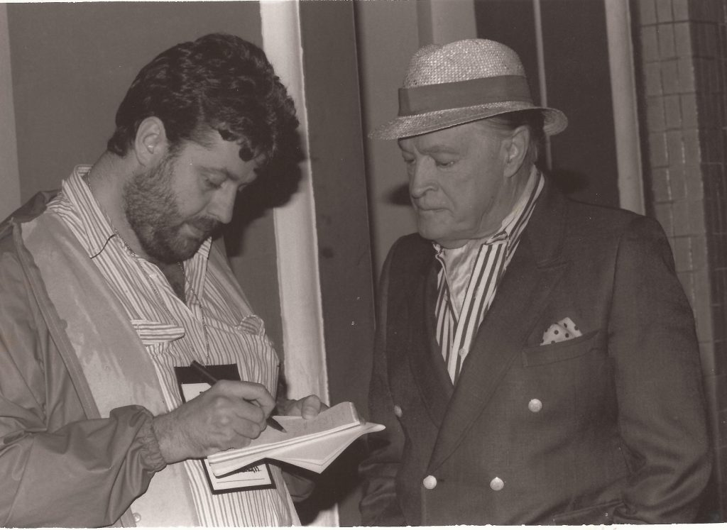 "Phil with Bob Hope, ""probably the most famous person I've ever interviewed."""