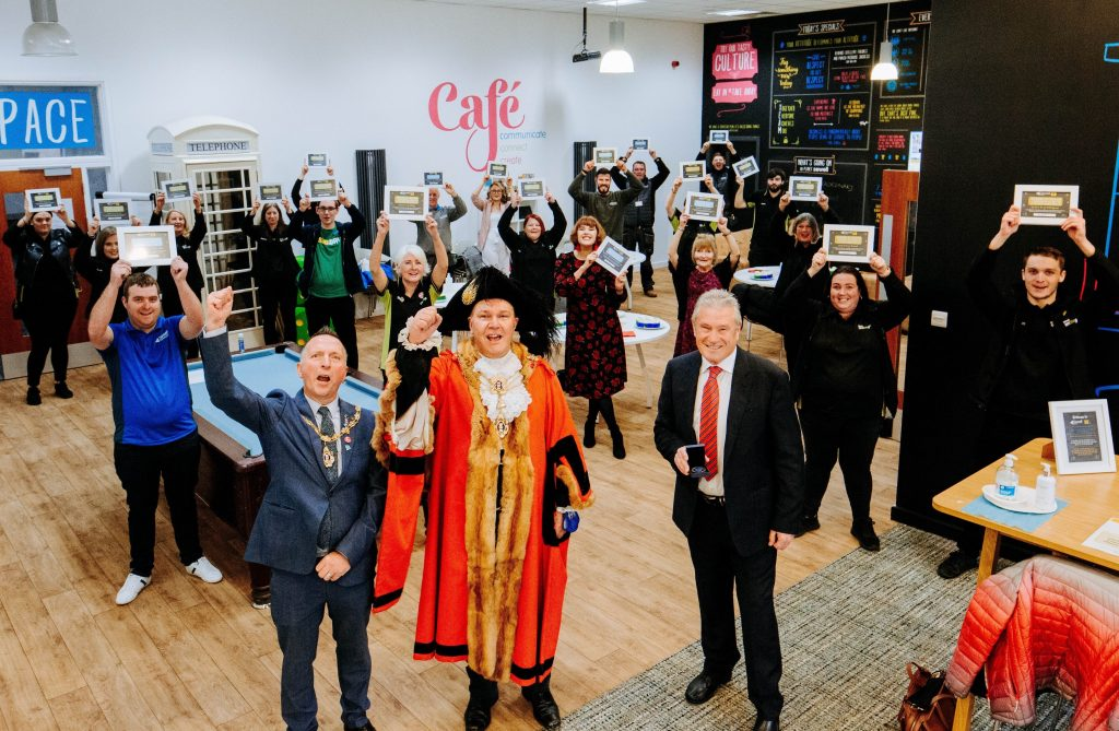 Lord Mayor of Hull Councillor Steve Wilson and his Consort Karl Hudder celebrating with staff at Sewell Group.