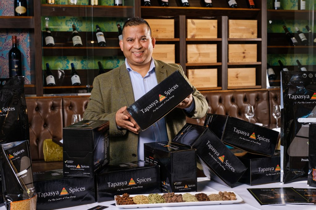 Mukesh Tirkoti with some of the products from Tapasya Spices.