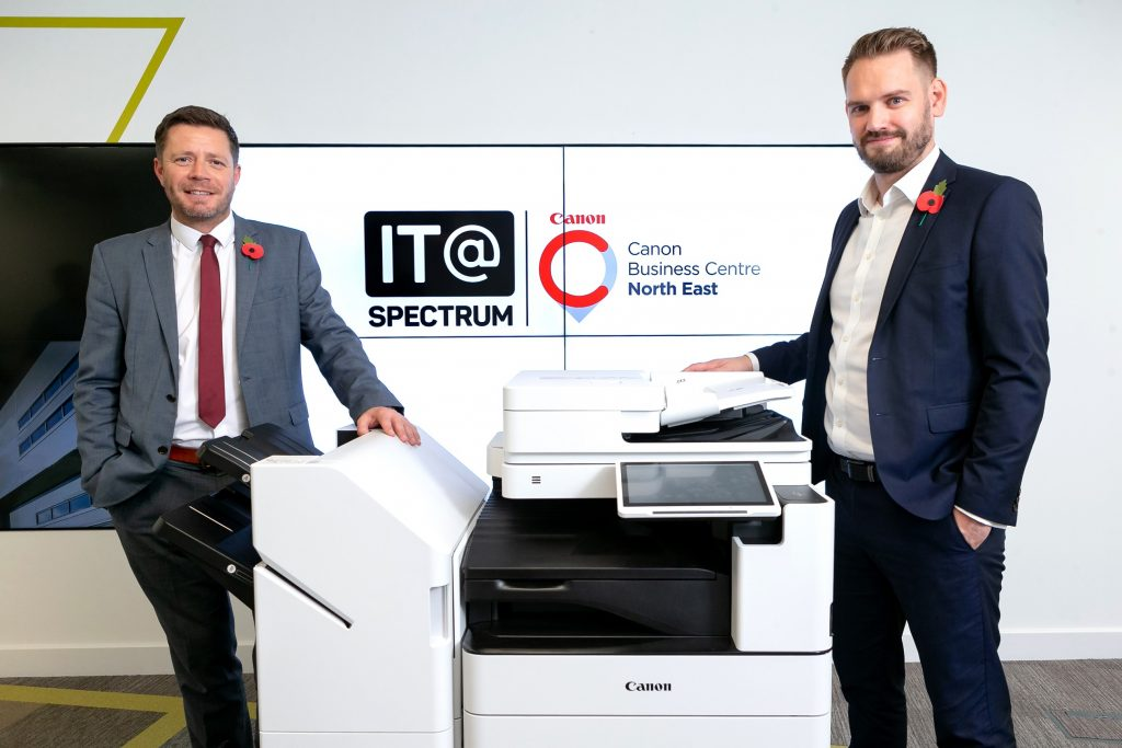 Chris Stratford, Regional Director of IT@Spectrum, left, and Managing Director Rob Cavill. The East Yorkshire company has partnered with Canon to launch the Canon Business Centre North East.