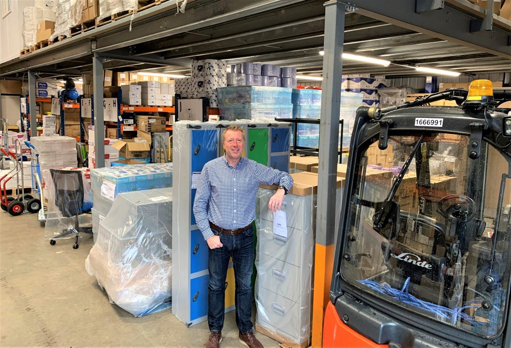 Martin Shaw in the warehouse at D3 Office Group.