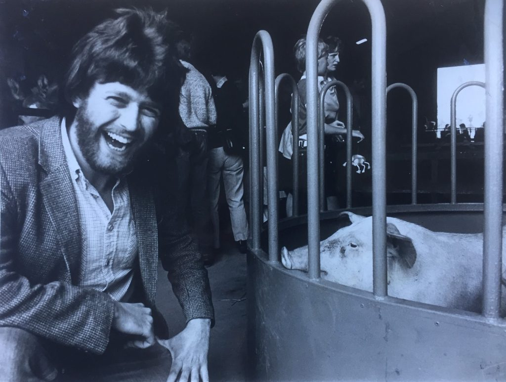 Phil Ascough and a pig.