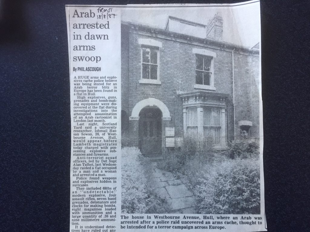 """Arab arrested in dawn arms swoop."" Phil Ascough, Yorkshire Post, 1987."