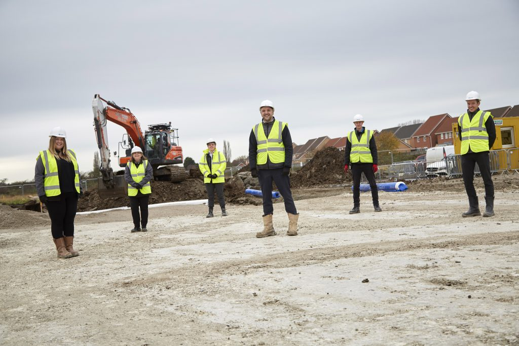 The Sewell Construction team on site, from left to right, Design Coordinator Katie Robertson, Document Controller Mel Hutchinson, Management Trainee Jack Donkin, Project Manager Dave Major, Site Manager Rob Page and Senior Quantity Surveyor Peter Martin. Photo: R & R Studios.