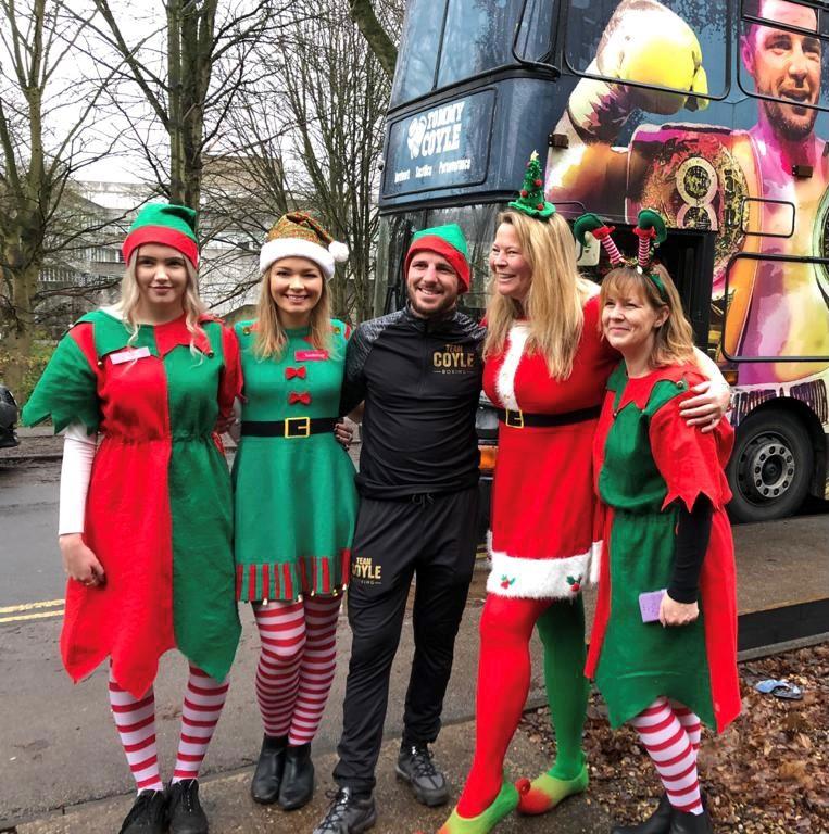Charlotte Bramley, Rose James, Tommy Coyle, Natasha Barley and Jo Coates during the 2019 Christmas Present drop.