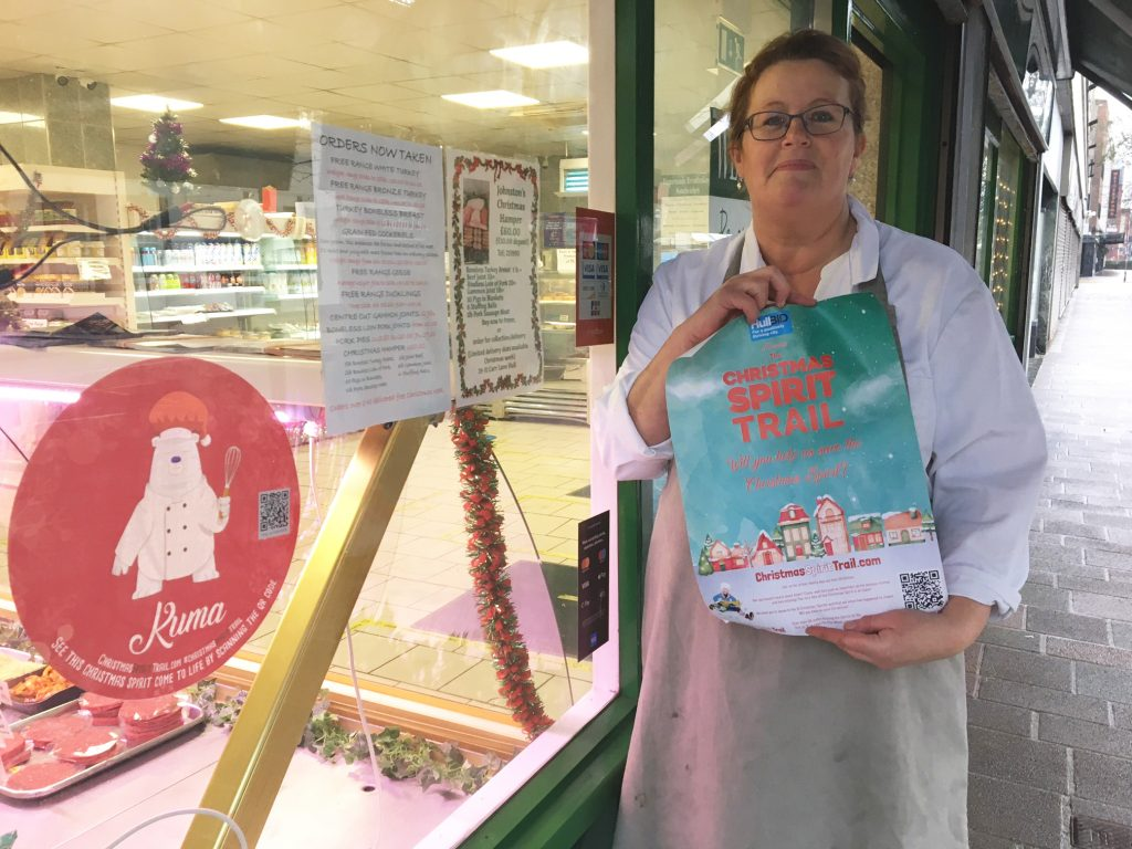 Emily Taylor of Johnston's butcher's and deli in Carr Lane, Hull, one of the locations on the Christmas Trail.
