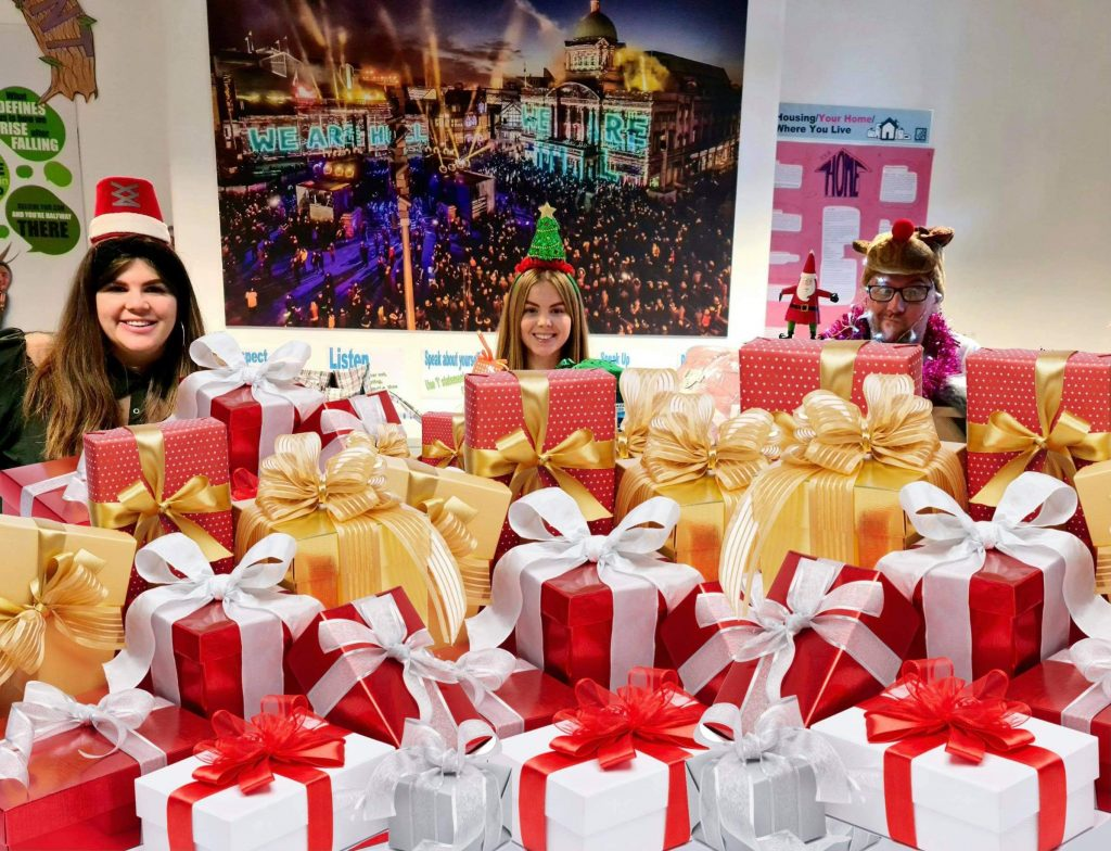 Pictured with some of the gifts for care leavers are (from left) Sarah Fenwick of The Tree Fellas Hull Ltd and Georgie Taylor and Phil Morris, of the Champions for Care Leavers in Room 42 at Hull Guildhall.