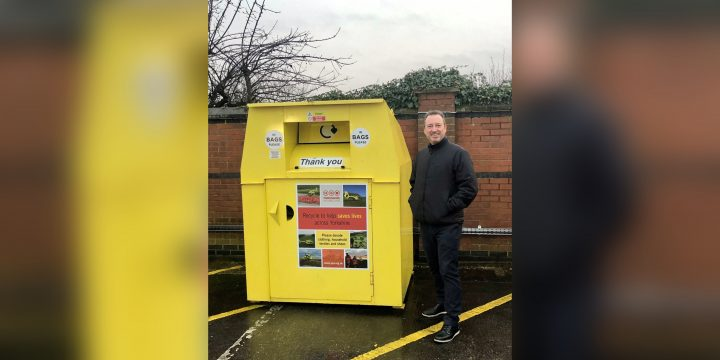 Sewell on the go Managing Director Patrick Sewell with one of the clothing banks
