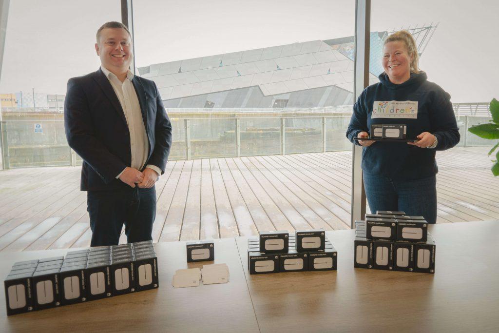 Chris Byrd and Natasha Barley at the ThingSIM offices at C4DI in Hull.