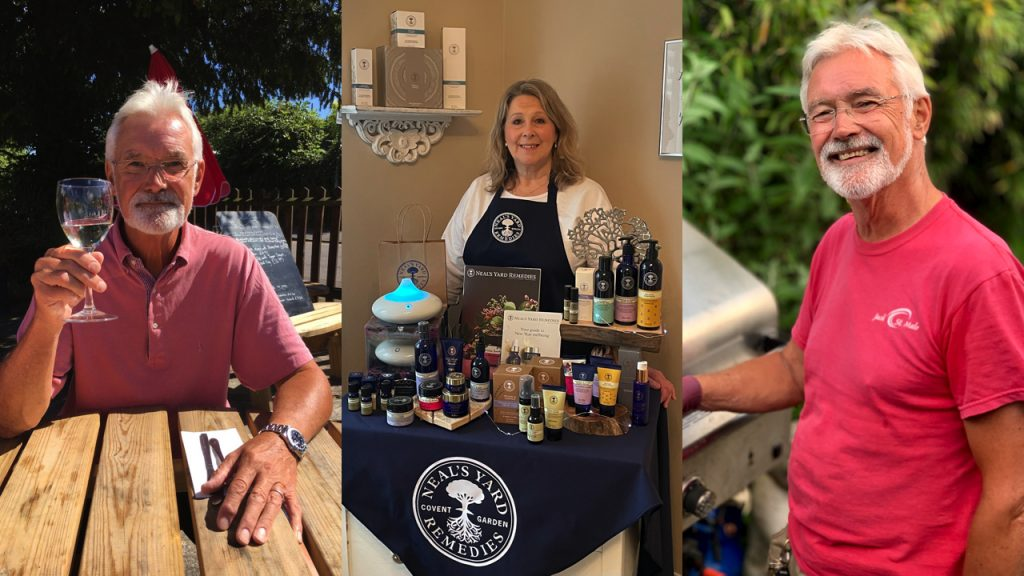 Karen Engstrom with some of her Neal's Yard products, and of her uncle Keith Godding.