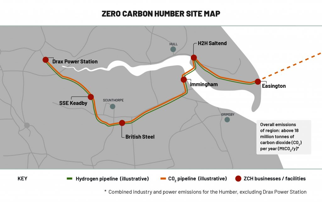 Zero Carbon Humber site map