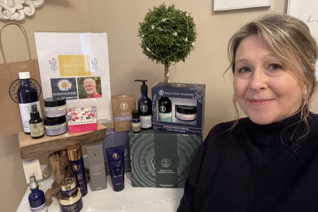 Karen Engstrom with some of her products and a thank you message to people who supported her campaign in aid of the Daisy Appeal and in memory of her late uncle, Keith Godding.