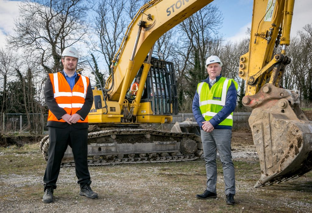 Steve Roberts (yellow vest), Development Contracts Manager for Lovel Developments, and Joe Booth, Business Development Director for Hobson & Porter, at the site of the new NHS medical centre in Anlaby, near Hull.