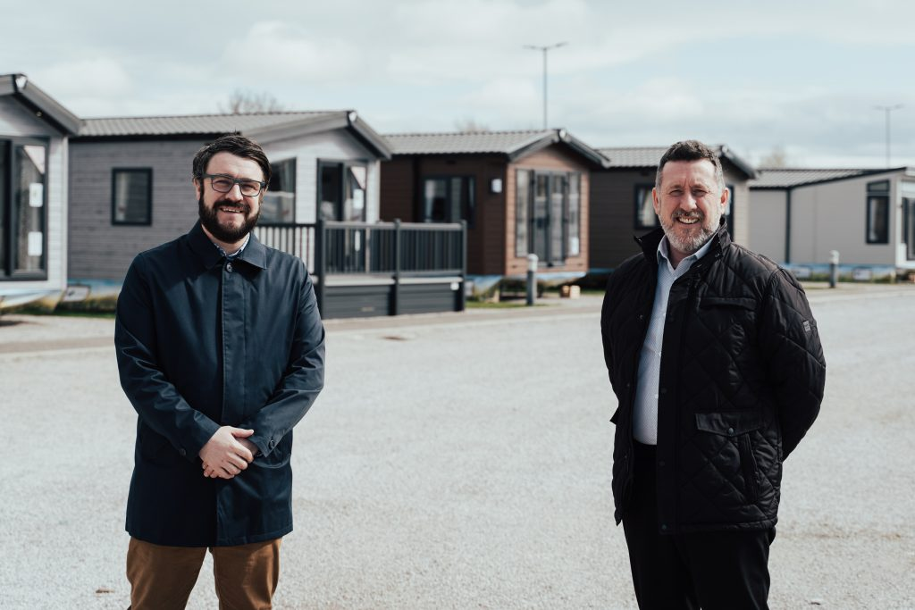 Willerby Commercial Director Matt Lightburn, left, and Southport Showground Manager Shane Smith at the holiday homes market leader's new site on the North West coast.
